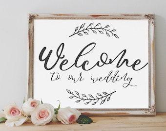 Welcome to our Wedding Printable Sign, Printable wedding sign, digital wedding print