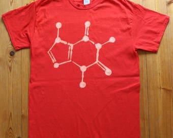 Caffeine molecule bleached t-shirt ~ unisex ~ science ~ geek ~ nerd ~ chemistry