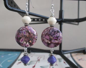 Lilac Black Spotted Howlite African Bead earrings