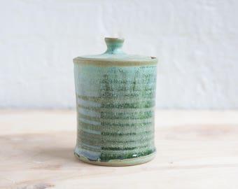 Lidded Jar in Seaweed Green