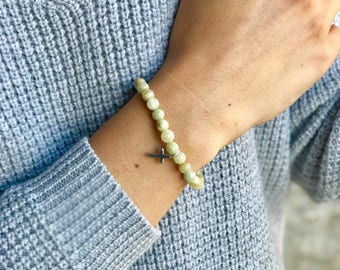 Amanda - Mixed Gemstone - Silver Cross - Beaded Bracelet