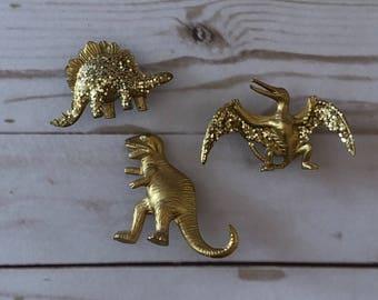 Gold Dinosaur Magnet Set (3)