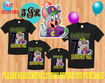 CHUCK e CHEESE Girl Birthday Family BLACK Theme Shirts Vacation Long Sleeve Short Sleeve Tank tops Toddler Tshirt