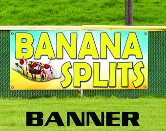 Banana Splits Restaurant ice-cream Shop Business Advertising Vinyl Banner Sign
