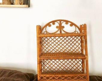 Vintage - Wicker - Two Tier Shelf