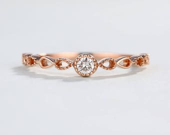 Rose gold Engagement Ring Vintage Art Deco Wedding band women Dainty Half eternity band antique Unique Infinity Twisted Promise Anniversary