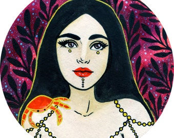 Watercolor Original Art - Cancer (Zodiac)