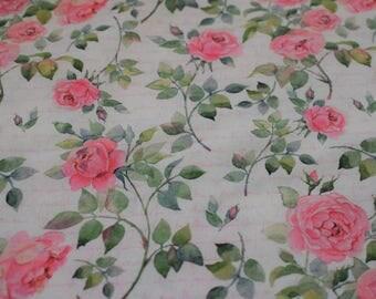 rose fabric, pink rose Quilting fabric, cream fabric,  cotton fabric, 59 inch wide, cotton fabric, red rose, english rose indigo fabrics