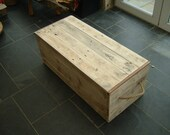 Traditional wooden shipping chest trunk coffee table reclaimed wood pine purple heart