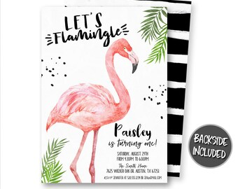 Flamingo Invitation, Flamingo Birthday Invitation, Flamingo Party, Photo Invitation, Let's Flamingle, Printables, Personalized, Digital
