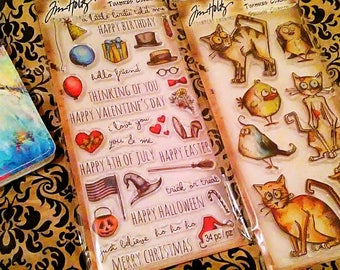 2 pk. Bundle Set by Tim Holtz Stampers Anonymous ~Things Talk~ & ~Crazy Cats N Birds~ Coordinating Stamp Sets