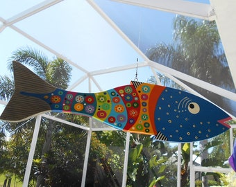 Far Out Fish Works .....Hanging Wind Fish . . . Blue . . . . SUMMER SALE