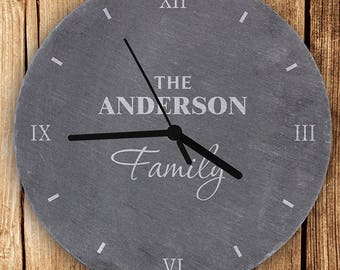 PERSONALISED Family CLOCK. Slate. Wedding Or Housewarming Gift, New Home  Gift Idea.
