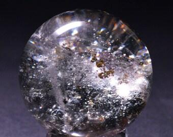 Best Green Phantom Quartz Sphere Included Garden Crystal ball,Scenic Quartz,Multi-inclusions Crystal Ball(Size:39mm,81g)#1019