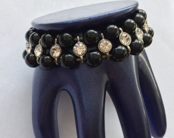 Clear Faceted Crystal Rhinestone And Black Bead Stretch Elastic Bracelet