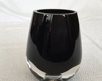 Vintage Deep Purple Clear Cassed Vase Art Glass
