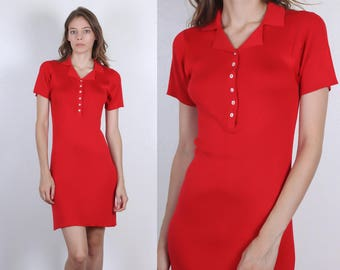 90s Ribbed Silk Dress // Vintage Red Button Up Mini Stretchy Bodycon Short Sleeved - Medium