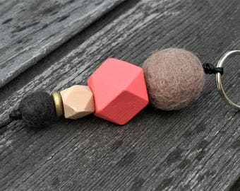 Key ring with felt and wood beads