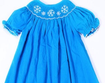 Snowflake smocked bishop dress
