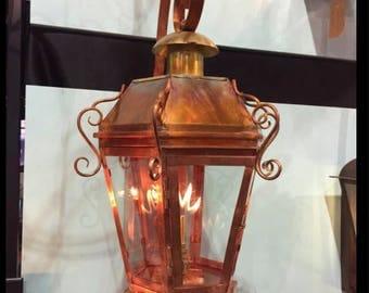 Copper Lantern Chandelier Pendant Light Fixture Rustic Medieval Gothic Antique Vintage Electric