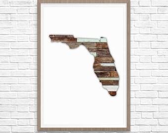 FLORIDA Silhouette Custom State Map Art Print, Florida State Art, State Map of Florida, State Art, Map Art, Wall Art, Home Decor