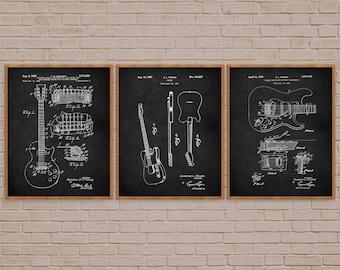 Guitar Art Set of 3, Guitar Player Gift, Music Poster, Guitar Decor, Vintage Guitar, Guitar Wall Art, Guitar Patent, Fender Guitar