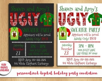 Ugly Sweater Party Invitation / Holiday Party Invitation / Christmas Party Invitation / Custom Invitation / Digital File