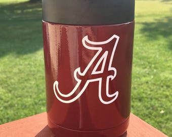 Yeti Powder Coated Colster/Can-Crimson with Alabama Crimson Tide decal