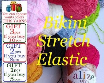 Bikini stretch, stretch yarn, bikini yarn, elastic yarn, bikini pattern, swimsuit yarn, lingerie yarn, bikini, swimsuit, lingerie