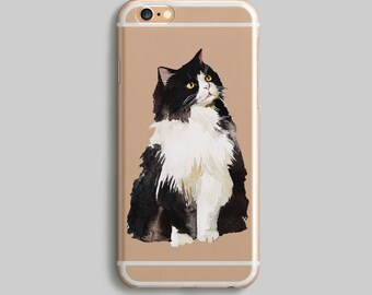 Cat iPhone 7 Case, iPhone 6 Plus Case, iPhone 7 Plus Cover, Cute Phone Case, Clear iPhone 6 Case, Silicone iPhone Case, Black and White Cat