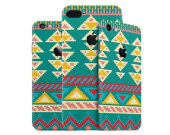 Tribal Aztec iPhone Skin Pattern Wrap Decal in multiple colors (green, yellow, red) for iPhone 7, 7 Plus, 6, 6 Plus, SE, 5, 4