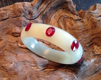 Hand Carved White Nephrite Jade Bangle with 8 Rubies.