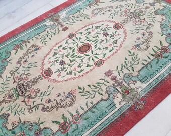 7x11--Large Turkish Rug,Vintage Turkish Oushak RUG,Pale Colors rug,Turkish Carpet,Low Pile Rug,Office Rug,Nomadic Rug,oushak rug