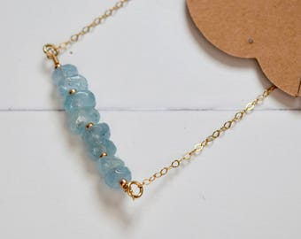 NEW~ Aquamarine Bar Necklace~ March Birthstone Necklace~ 14k Gold and Stone Layering Necklaces~ Bridal / Bridesmaide Gifts