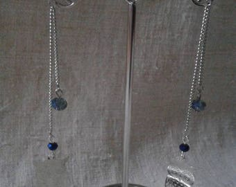 """""""silver chain and silver OWL"""" earrings"""