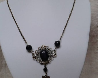 Necklace bronze engraving and Black Pearl