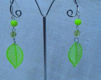 neon yellow leaf earrings