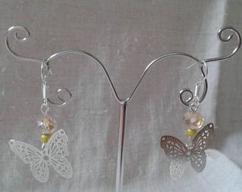 """Earrings """"engraved silver Butterfly"""""""