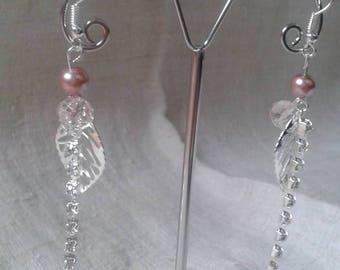 leaf and rhinestone chain earrings