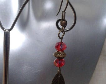 """Earrings """"red and leaf beads"""""""