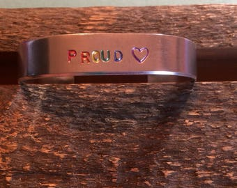 Hand-stamped Proud Rainbow Heart LGBT Pride Cuff Bracelet