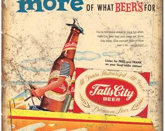 "Falls City Beer Vintage Print Ad Breweriana 10"" x 7"" Reproduction Metal Sign E10"