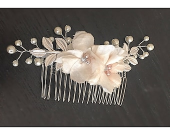 Silver wedding hair comb, hair flower, bridal hair comb, wedding accessories, bridal accessories