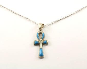 Vintage Italy Turquoise Egyptian Ankh Cross Pendant Necklace 925 Sterling Silver NC 953