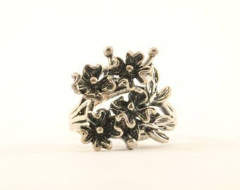 Vintage Flowers Floral Design Ring 925 Sterling RG 1833