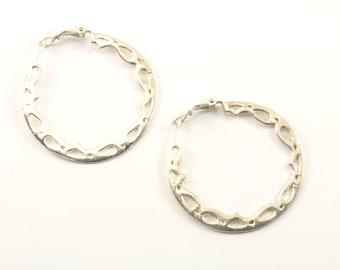 Vintage Scroll Design Hoop Earrings 925 Sterling Silver ER 916