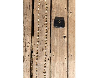 St. John Pearl & Gold Vintage Necklace w/ Leather Case
