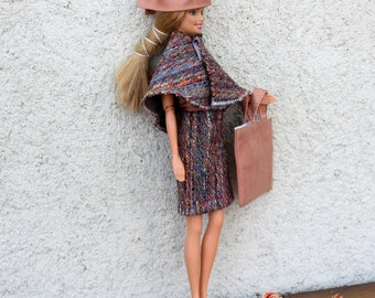 Clothes Barbie skirt set, top, cape, bag and hat. hand made
