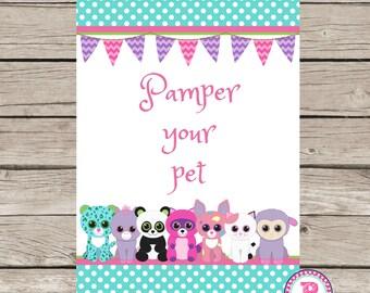Pet Adoption Adopt Pet Birthday Party Adoption Station Certificate Stuffed Animal Kitten Puppy Pet Shop Pamper Your Pet Sign