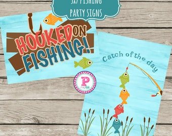 INSTANT The Big One Gone Fishing Party Signs Hooked on Fishing Catch of the Day Signs Birthday Boy Reel Fun Fish Fisherman Watercolor 5x7